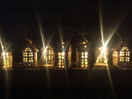 Traditional Wooden Houses String Fairy Lights Christmas Decoration